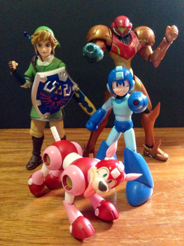 My Figma Link, Metroid and D-Arts Megaman taking a pose.